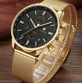 Relógio Masculino Grande Dourado Luxo Original Inox + Brinde