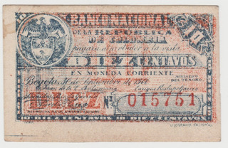 Billete Colombia Banco Nacional 10 Centavos 1900