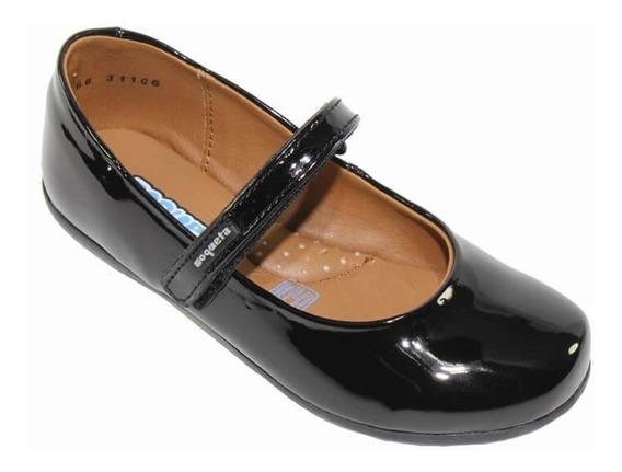 Zapatillas Escolares Coqueta Niña Negro Charol 31106c
