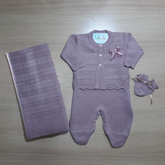 Kit Saida De Maternidade Menina C/4 Peças Rococó -rosa Prata