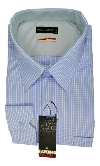 Camisa Talla Extra 52-50-48-46 Azul Cielo Cuadros Blancos