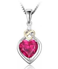 Colar Cordão Feminino Prata 925 Coração Rubi Natural