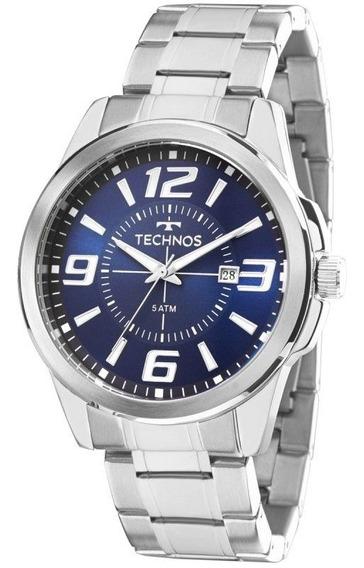 Relógio Masculino Technos Prateado Com Azul 2115kzz1a