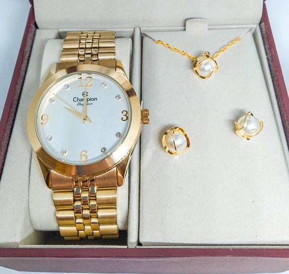 Relógio Feminino Champion + Colar E Brinco Cn25298w C/nf-e