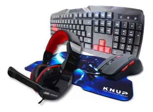 Imagem 1 de 7 de Kit Gamer Knup Teclado Mouse 3200dpi Headset Mousepad Kp2061