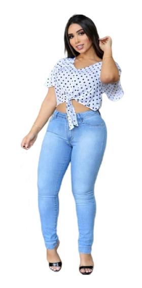 Blusa Linda Poa Com Amarração Badalo Jeans