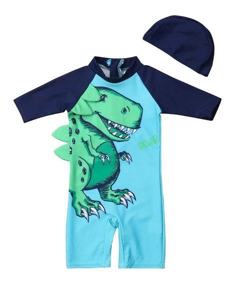Traje Bano Niño Y Cachucha Dinosaurio (1-6 Anos) Env. Gratis