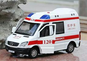 Miniatura Mercedes-benz Sprinter Metal Ambulância Luz E Som