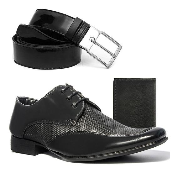Sapato Social Masculino Salazari Com Cinto E Carteira