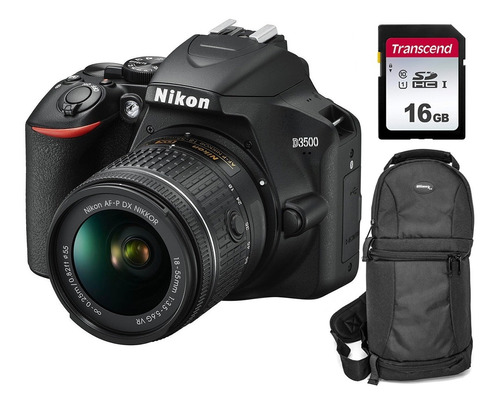 Kit: Nikon D3500 Dslr + Lente 18-55mm + Maletin + Memoria Sd