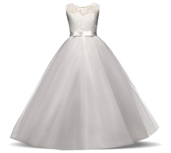 Vestido Longo Infantil Casamento Daminha + Saiote Armado