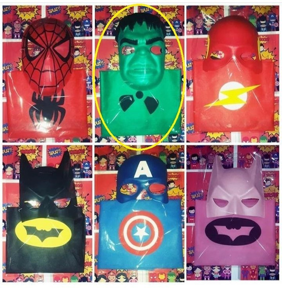 Set Disfraz Hulk Avengers Capa + Mascara Superheroe