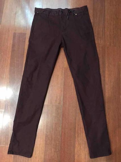 Pantalón Zara Slim Vino Talla 28