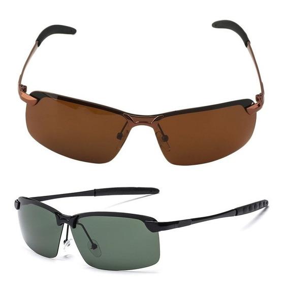 Óculos Sol Masculino Polarizado Kit Com 2 Und Verde + Marrom