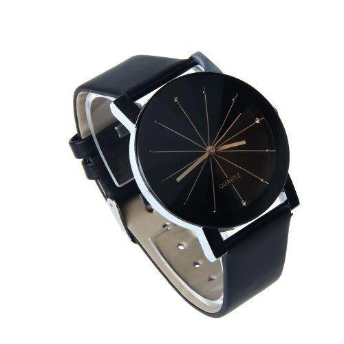 Relógio De Pulso Feminino Barato Quartz Pulseira Couro Preta