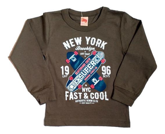 Camiseta Infantil Manga Longa Meia Malha Menino Masculino