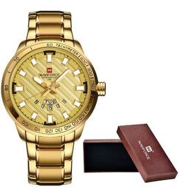 Relógio Masculino Militar Esportivo Naviforce Ouro Ou Prata