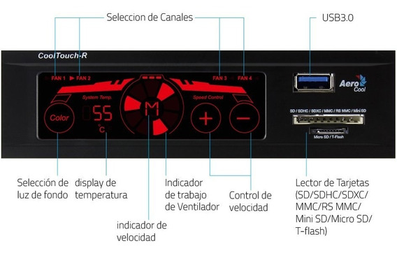 Panel Control Ventiladores Aerocool Cool Touch-r