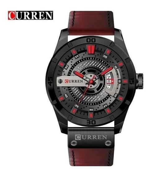 Relógio Masculinos Curren 8301 Pulseira De Silicone Vinho