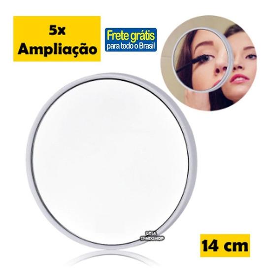 Espelho Lente Aumento 5x Maquiagem 14cm Ventosa Frete Gratis