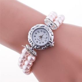 Relógio Feminino Geneva Pulseira De Pérolas
