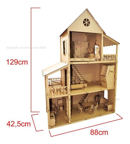 Casa Boneca Barbie Mobiliada C/ 29 Móveis 129x88x42 Mdf +fre