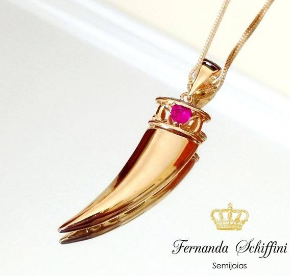 Colar Dente De Tigre Rubi Prata 925 Folheado A Ouro Cl975