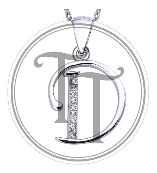 Collar Letra D Plata Esterlina 925 Zirconias Corte Diamante