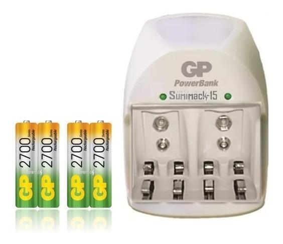 Cargador Con 4 Baterias Recargables Aa 2700mah Carga 9v