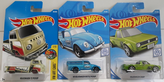 Hot Wheels 3 Pickup Volkswagen: Kombi T2 + Beetle + Caddy