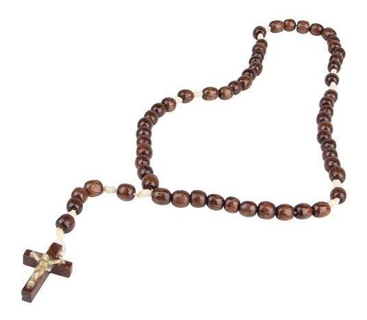 Terço Madeira Pau Brasil Envernizada 50 Cm Presente Católico
