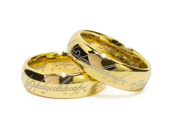 Par De Aliança Senhor Dos Anéis Tungstênio Negro Ou Dourado
