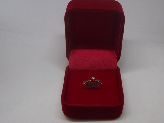 Anel Ouro 18k Pedra Zircônia Branca Pequena