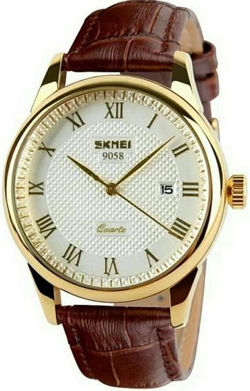 Relógio De Pulso Masculino Skmei 9058 Origin Púlseira Couro