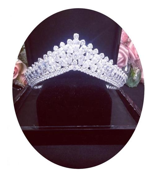 Coroa Tiara Coque Noiva Zirconia Debutante Prata Semi Joia