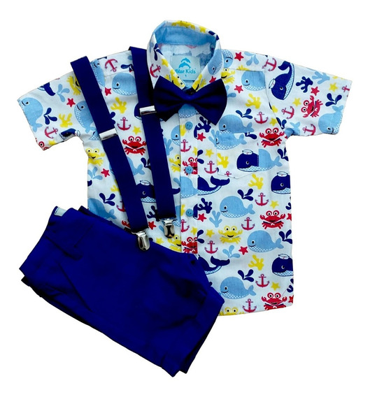 Conjunto Roupa Festa Infantil Camisa Manga Curta Menino Fundo Do Mar Bermuda Social Suspensorio E Gravata Blue Kids Col