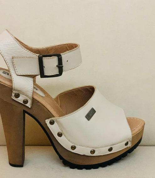 Zapato Sandalia Cuero Taco Mujer