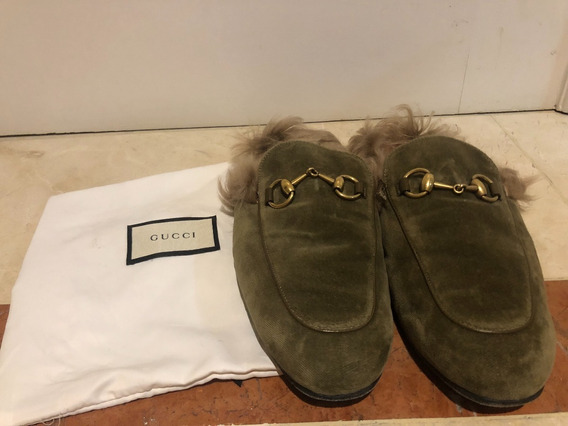 Gucci Mens Princetown Velvet And Lamb Fur Slippers