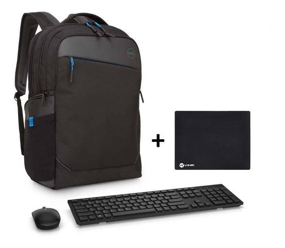 Kit Teclado E Mouse Wireless Dell Km636 Preto + Mochila Dell