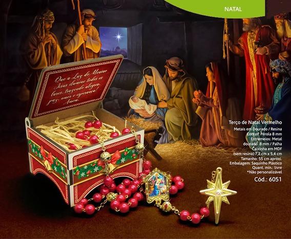 Terço De Natal Pérola Vermelha Caixa Mdf Corrente Dourada