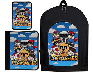 Kit Combo Escolar Mochila Carpeta Cartuchera Compadretes