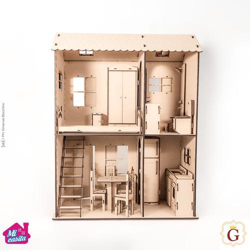 Casa Casita Para Muñecas Barbie En Fibro Fácil Con Muebles