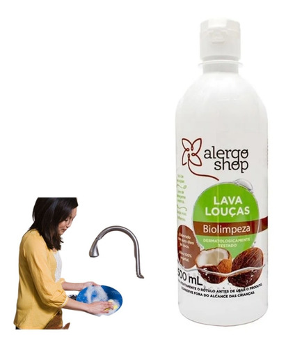 Lava Louça 500 Ml Hipoalergênico Detergente Sem Conservantes