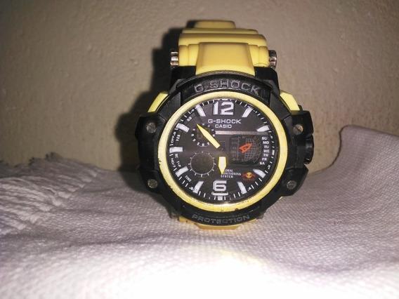 Relógio Casio G-shock Ga-100 St-steel Black, Preto/amarelo.