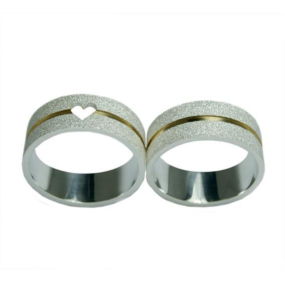 Aliança Prata 950 Diamantada Com Coração Vazado Com 6mm