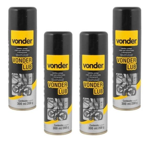 Desengripante Lubrificante Spray 300 Ml Kit 4 Peças Vonder