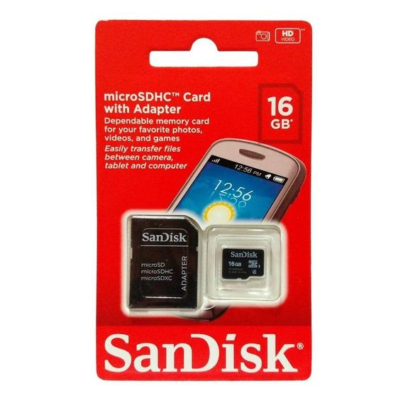Cartão De Memória 16gb Sandisk Micro Sd Com Adaptador