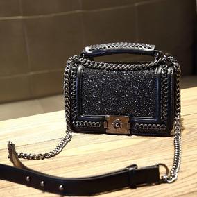 Bolsa Couro Caviar Glitter De Ombro Moda Feminina 2019