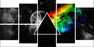 Painel Mosaico 5 Partes Pink Floyd The Dark Side Of The Monn