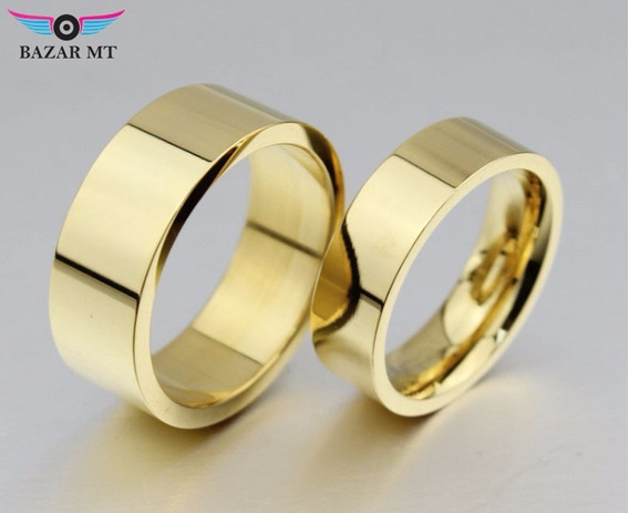 Banhada Ouro Aliança Tradicional Bonita Persolinalizada Ouro